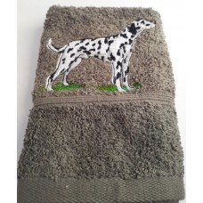 Dalmatian Embroidered Face Cloth on Grey