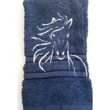 Horse Line Art Embroidered Face Cloth