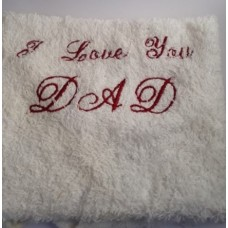 I Love You Dad Embroidered Face Cloth - White